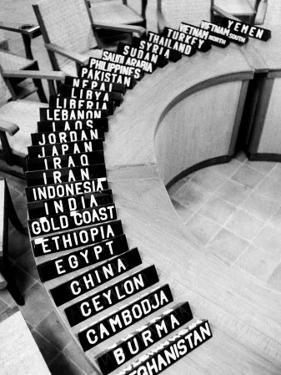 Place Markers Sitting on Table in Preparation for Bandung Conference