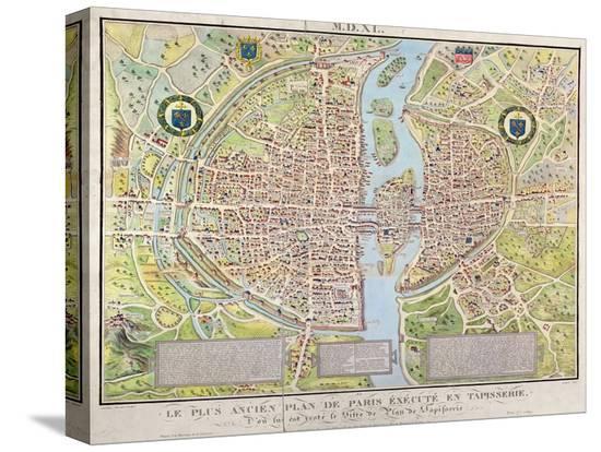 Plan de La Tapisserie, Map of Paris, Originally a Tapestry Made in circa 1570, 1818-Caroline Naudet-Stretched Canvas Print