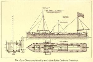 Plan of Robert Fulton's First Steamboat the Clermont Built in 1807. Hudsonfultoncele00statuoft_0055
