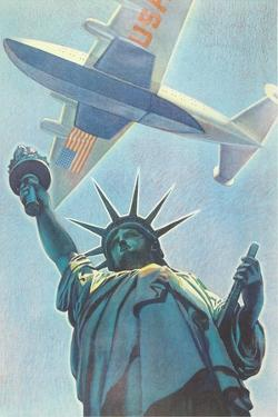 Plane over Statue of Liberty