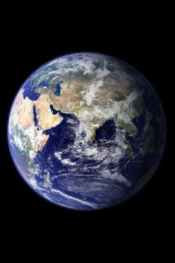 Planet Earth Eastern Hemisphere on Black Art Print Poster