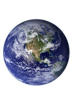 Planet Earth Western Hemisphere on White