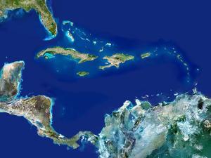 Caribbean, Satellite Image by PLANETOBSERVER