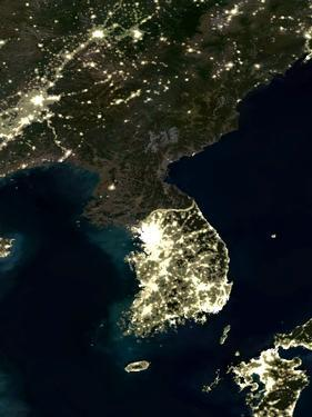 Korea At Night, Satellite Image by PLANETOBSERVER