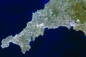 True-colour Satellite Image of Cornwall, UK by PLANETOBSERVER