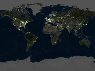 Whole Earth At Night, Satellite Image by PLANETOBSERVER