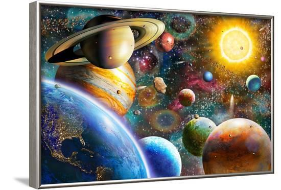 Planets in Space (Variant 1)-Adrian Chesterman-Framed Art Print