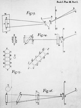 Plate from Opticks, by Isaac Newton, Showing the Splitting of Light Through Prisms, 1704