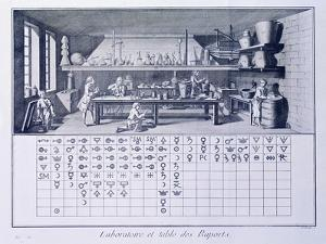 Plate Showing Chemical Laboratory and Table of Affinities from Denis Diderot
