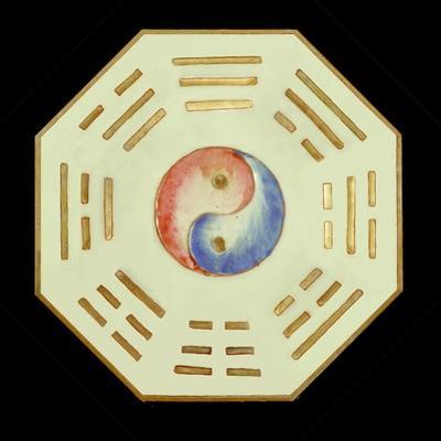 Plate with Yin Yang and Trigram Symbols