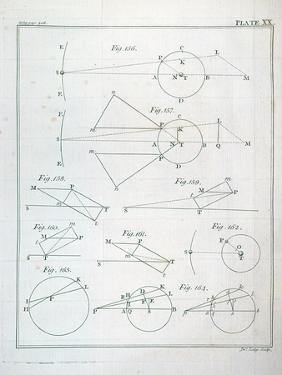 """Plate XX from Volume I of """"The Mathematical Principles of Natural Philosophy"""" by Sir Isaac Newton"""