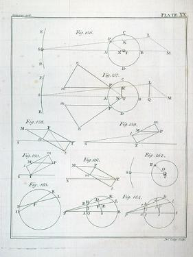 "Plate XX from Volume I of ""The Mathematical Principles of Natural Philosophy"" by Sir Isaac Newton"