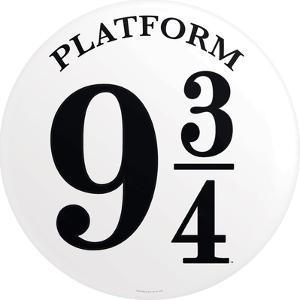 Platform 9 3/4 Metal Button Sign