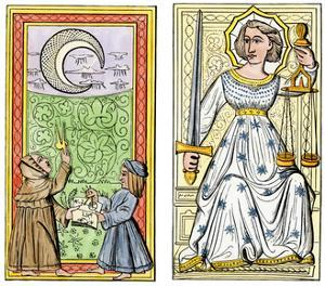 Playing Cards of Moon (Left) and Justice (Right) From the Court of Charles VI, France, Circa 1400