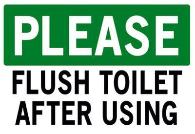 Please Flush Toilet Sign Print Poster