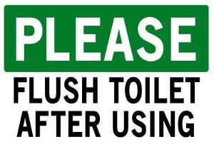 Please Flush Toilet Sign Print Poster