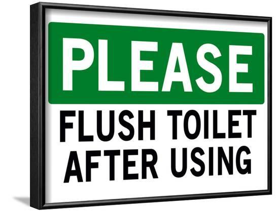 Please Flush Toilet Sign Print Poster--Framed Poster
