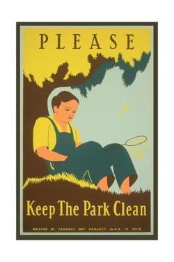 Please Keep the Park Clean, Boy with Net