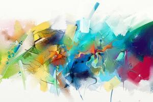 Abstract Colorful Oil Painting on Canvas Texture. Hand Drawn Brush Stroke, Oil Color Paintings Back by pluie_r