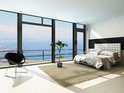 Contemporary Modern Sunny Bedroom Interior with Huge Windows by PlusONE