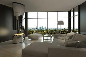 Living Room Interior with Open Fireplace and Floor to Ceiling Windows by PlusONE
