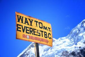 Signpost to the Mount Everest Base Camp, Nepal by PlusONE