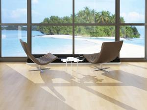 Two Lounge Chairs Against Huge Window with Seascape View by PlusONE
