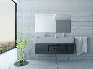 White Bathroom Interior with Concrete Walls and Tiled Floor by PlusONE