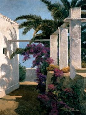 Bougainvillea and Palm Trees by Poch Romeu
