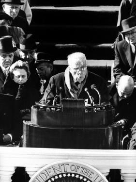 Poet Robert Frost Reading a Poem at the Inauguration Ceremony for President John F. Kennedy