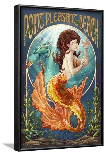 Point Pleasant Beach, New Jersey - Mermaid-Lantern Press-Framed Art Print