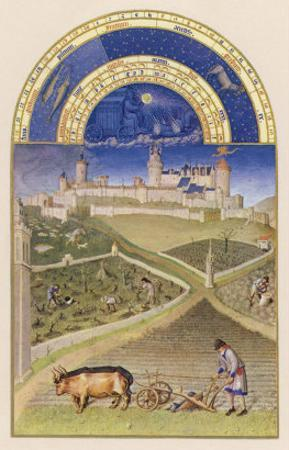 March Plowing and Tending Vines Near the Chateau De Lusignan by Pol De Limbourg