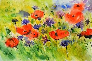 Blue Cornflowers And Red Poppies by Pol Ledent