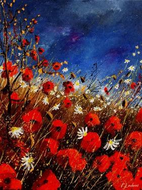 Red Poppies Against A Stormy Sky by Pol Ledent
