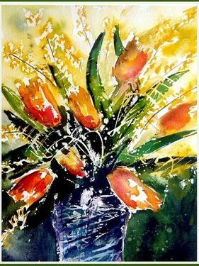 Watercolor Red Tulips by Pol Ledent