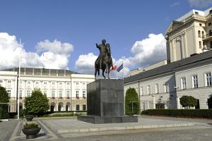 Poland. Warsaw. Presidential Palace and Statue of Prince Jozef Poniatowski (1763-1813)