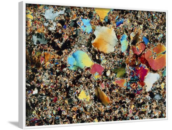 Polarised LM of Granite In Thin Section--Framed Photographic Print