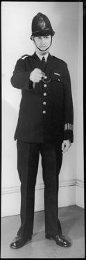 Police Officer in Uniform Pointing