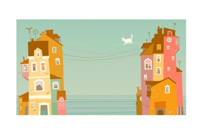 Two Houses on the Background of the Sea, Connected by Wires by polinina