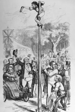 Political Cartoon Depicting Benjamin Disraeli Reaching the Top of the Political Pole