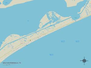 Political Map of Bolivar Peninsula, TX