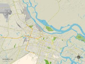 Political Map of Savannah, GA