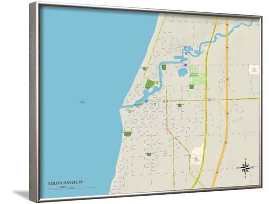 Political Map of South Haven, MI--Framed Art Print