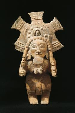 Polychrome Terracotta Statue Depicting Dancing Priest Wearing Feather Headdress from Jama-Coaque
