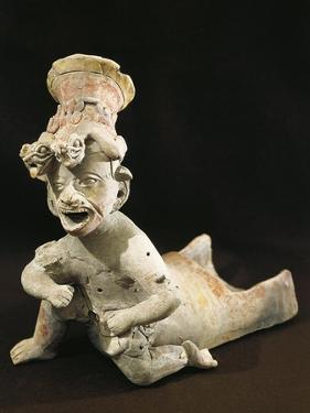 Polychrome Terracotta Statue Depicting Dancing Priest Wearing Headdress from Bahia De Caraquez