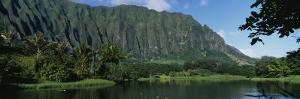 Pond in a Garden, Hoomaluhia Botanical Garden, Kaneohe, Oahu, Hawaii, USA