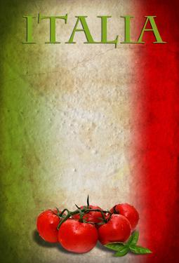Traditional Italian Flag With Tomatoes And Basil by pongiluppi