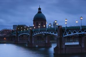 Pont St-Pierre Bridge and the Dome of the Hopital De La Grave, Evening