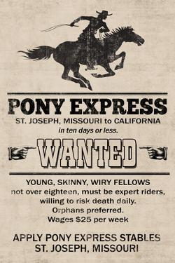 Pony Express Replica Recruitment Advertisement Print Plastic Sign