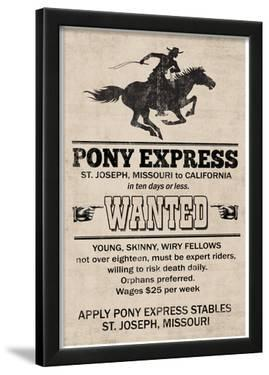 Pony Express Replica Recruitment Advertisement Print Poster
